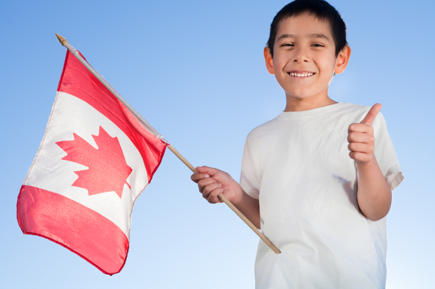Canadian citizenship boy waving flag